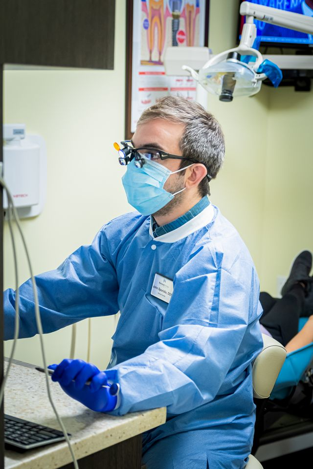 Dentist wearing face mask