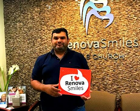 Happy and satisfied male client of RenovaSmiles Falls Church